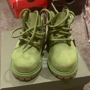 Green toddler timberland boots